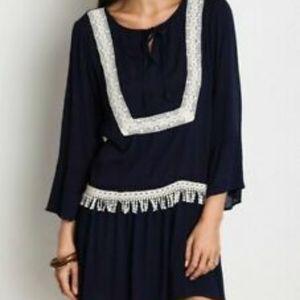 UMGEE Crochet Lace Boho LS Tunic Dress